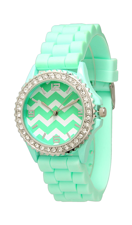 s confetti geneva pin face green mint gold watches women