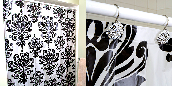 Black And White Damask Shower Curtain home dynamix damask shower curtains