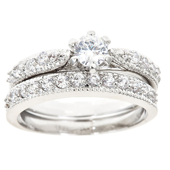18k white gold plated engagement rings