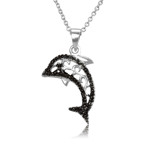 Black diamond accented animal pendant dolphin mozeypictures Images