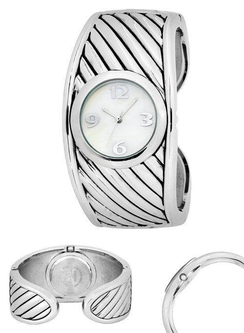 steel watch delancy coach stainless ladies bangle silver dial watches
