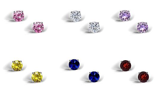 Set of Six Stud Earrings