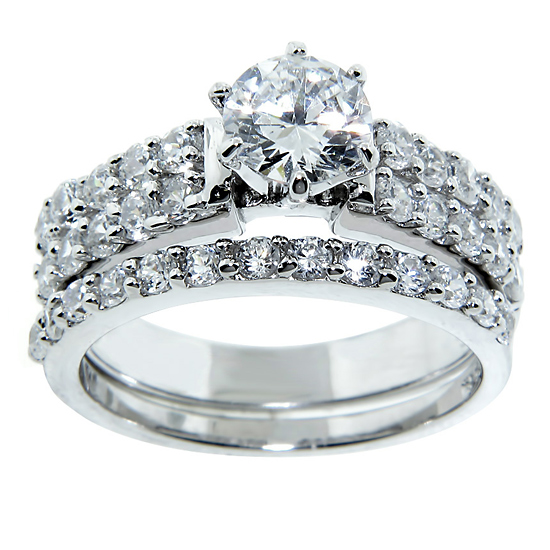 2 Piece Wedding Ring In Double Rows Of Prong Set Stones With A 6.5mm High  Setting Center Stone (LLR1202)