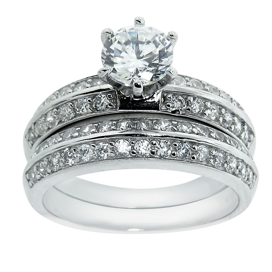 2 Piece Wedding Ring In Double Row Round Cut Setting With 6.5mm Round  Center Stone (LLR1211)