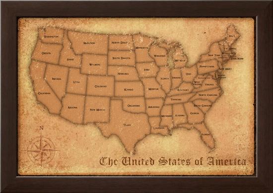 Framed Maps And SubwayStation Prints - Framed us map