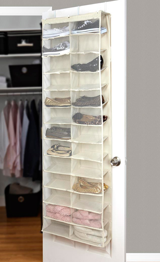 Shoe door honey can do 60 2 door closet storage with for Door shoe organizer