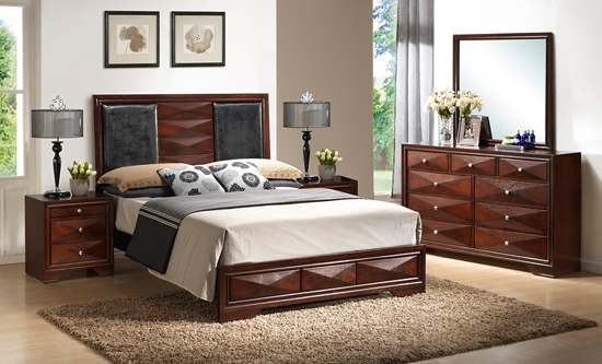 Beau 5 Piece Set Includes A Queen Sized Bed, 9 Drawer Dresser With Attachable  Mirror, And Two 3 Drawer Nightstands. A Cherry Tinged Brown Stain Is A ...