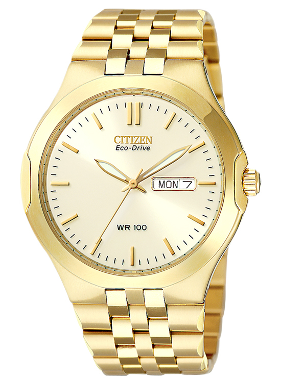 citizen eco drive men s watches 154 99 for citizen men s eco drive watch gold tone stainless steel band beige dial gold tone bezel 275 list price