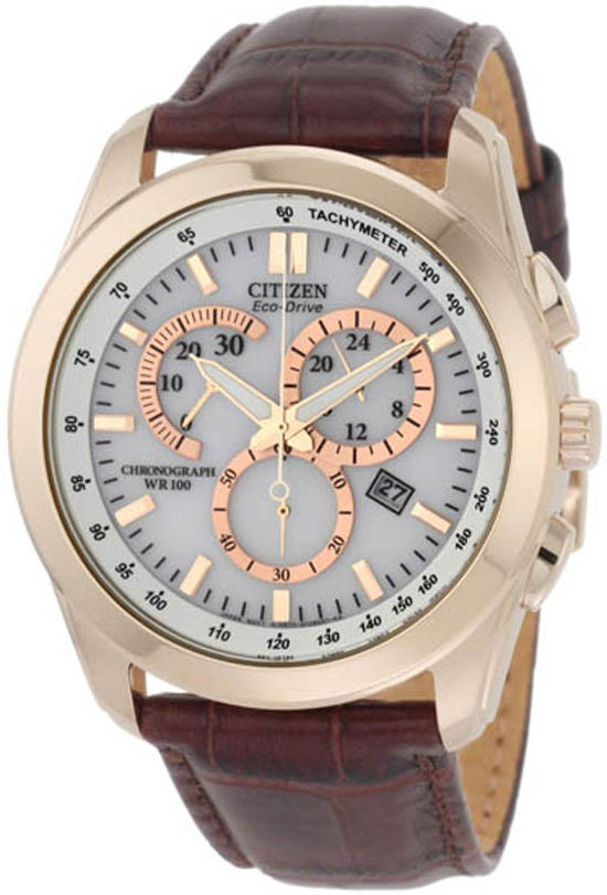 citizen eco drive men s watches 174 99 for citizen men s eco drive chronograph watch brown leather strap band white dial gold tone bezel 325 list price