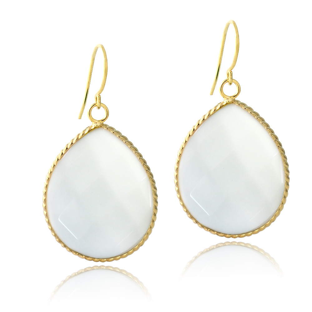 white p house quartz noble earrings