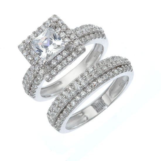 Two Piece Engagement and Wedding Ring Set