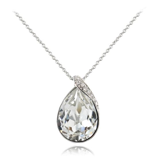 Sterling silver teardrop necklaces sterling silver teardrop necklace with 8 cubic zirconia clear mozeypictures Choice Image
