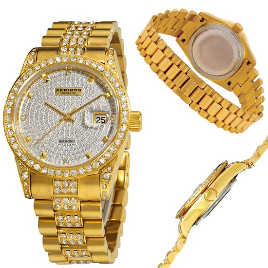 akribos xxiv men s and women s watches 99 for akribos xxiv men s watch diamond quartz bracelet gold tone 695 list price