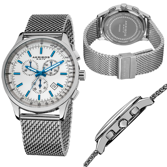 akribos xxiv men s chronograph stainless steel mesh watch