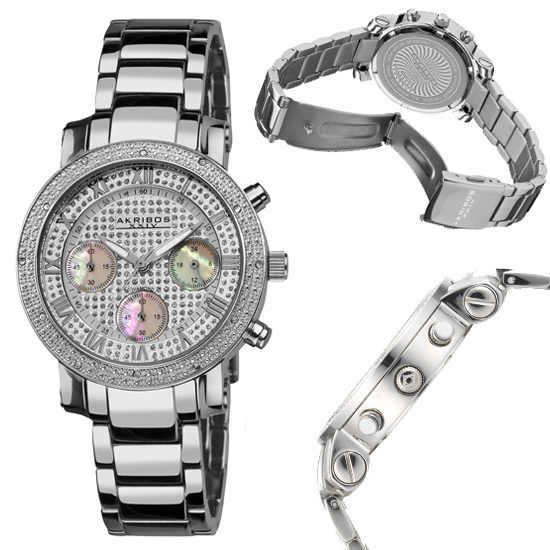 akribos xxiv men s and women s watches 79 for akribos xxiv women s stainless steel diamond chronograph bracelet watch silver tone 675 list price