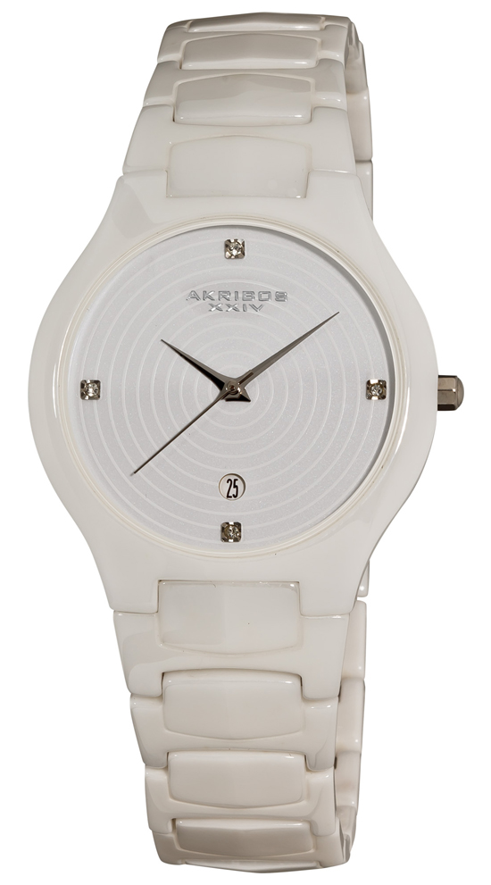 akribos xxiv ceramic watches for men and women 52 99 for a women s midsize slim ceramic watch in white akgp516wt 495 list price