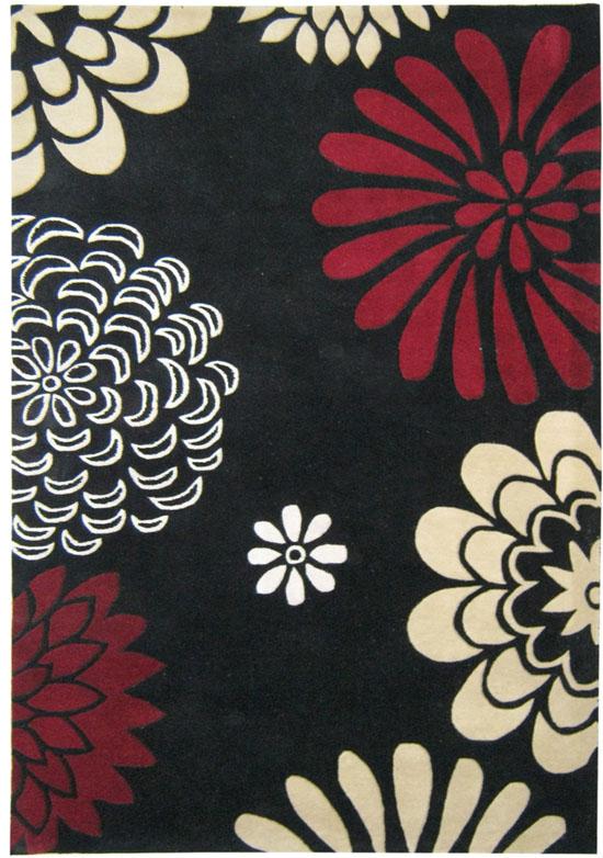 Tufted Giant Flowers Black Wool Rug: 5u0027x8u0027