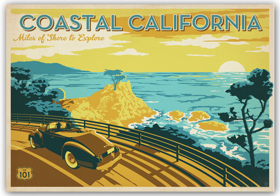 Framed vintage style travel prints for California design company