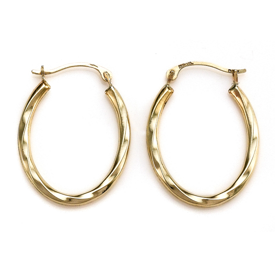 White And Yellow Gold Hoop Earrings