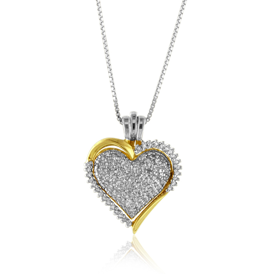 Sterling silver and diamond heart pendants mozeypictures Images