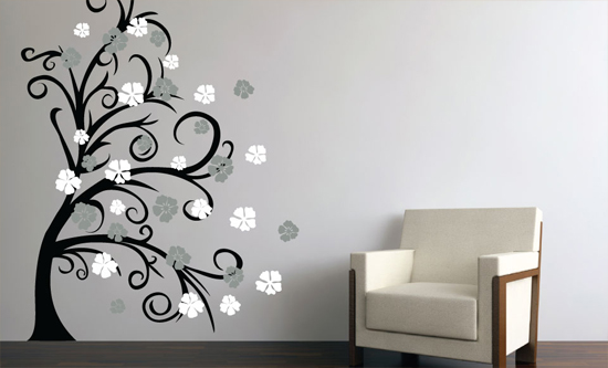$44.99 for Curly Tree u0026 Flowers in the Wind/Black-Middle Grey-White ($99.99  List Price)