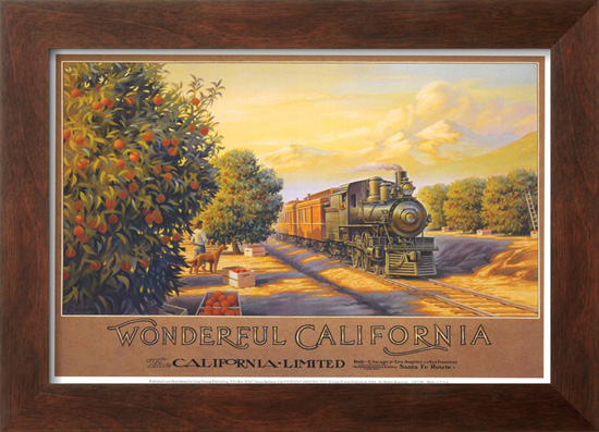 Framed vintage travel prints for 5th avenue salon redwood city