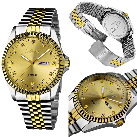 steiner men s and women s watches 44 99 for steiner men s watch diamond stainless steel bracelet two tone gold and silver as8047tt 375 list price