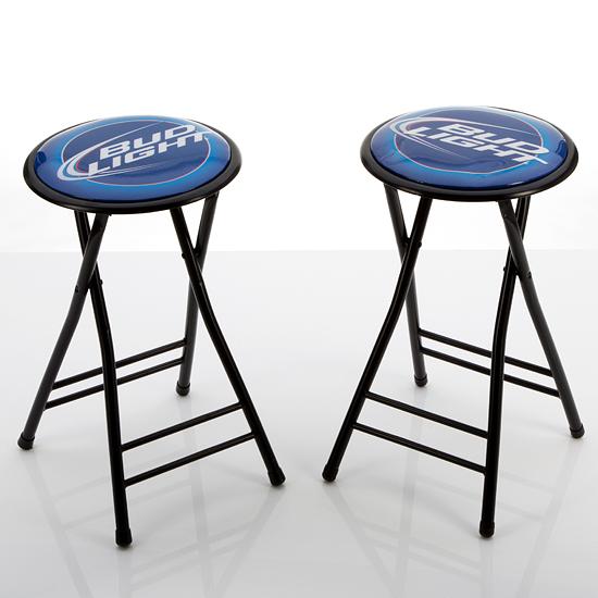 for set of 2 bud light 24 inch cushioned folding stool ab2400. Black Bedroom Furniture Sets. Home Design Ideas