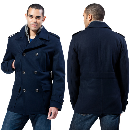 Black Rivet Men's Wool Pea Coats