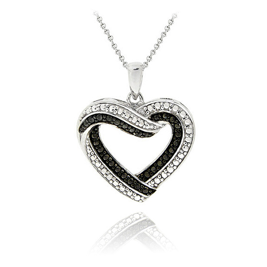 Black or white diamond necklaces open heart with black diamond mozeypictures Gallery
