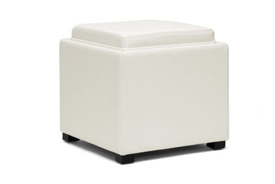 $89 For Gaia Cream Leather Modern Storage Cube Ottoman ($169 List Price)