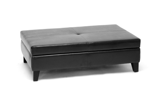 $199 for Prospero Leather Storage Ottoman in Black ($810 List Price) - Baxton Studio Leather Storage Ottomans