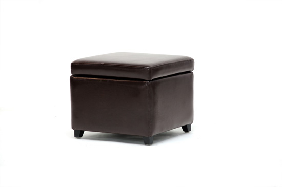 $89 for Pisanio Square Leather Storage Ottoman in Dark Brown ($169 List  Price) - Baxton Studio Leather Storage Ottomans
