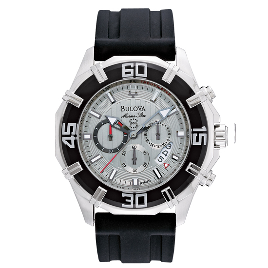 bulova men s watches 169 99 for bulova men s solano marine star rubber strap watch black rubber band silver dial 96b152 450 list price