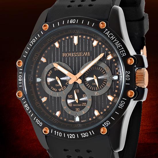 rousseau watches 34 99 for rousseau men s watch baer black rose gold w black bezel 62620529 680 list price