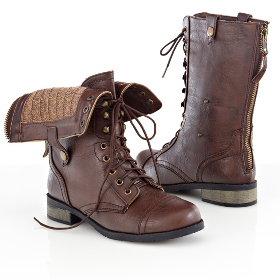 Innovative Womenu0026#39;s Shoes Steve Madden Troopa Leather Lace Up Combat Boots Brown *New* | EBay