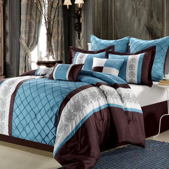 Chic Home Design Comforter Sets - Blue and brown comforter sets