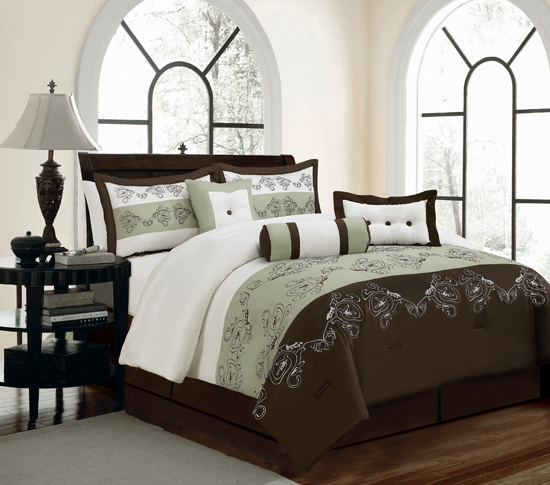 Kam home 7 piece embroidered comforter sets for City chic bedding home goods