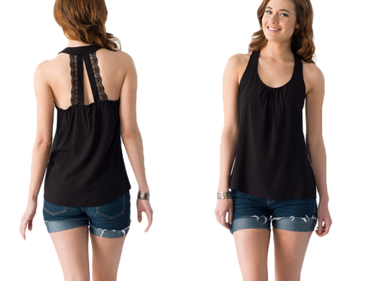 Tank top with lace back strap in black