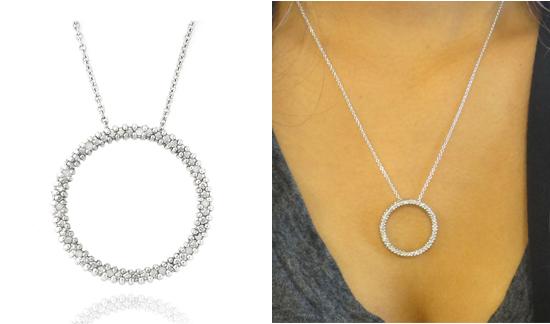 Diamond pendant necklaces sterling silver 18 carat diamond circle necklace 9999 list price aloadofball Choice Image