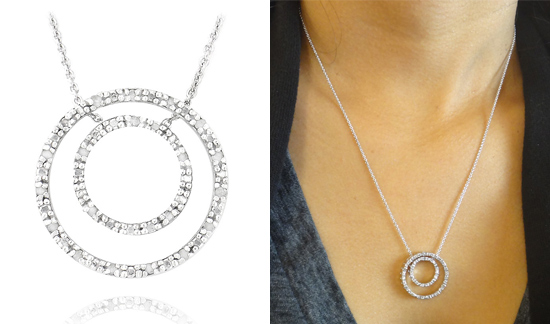 Diamond pendant necklaces sterling silver two tone 18 carat double circle necklace 8999 list price aloadofball Images