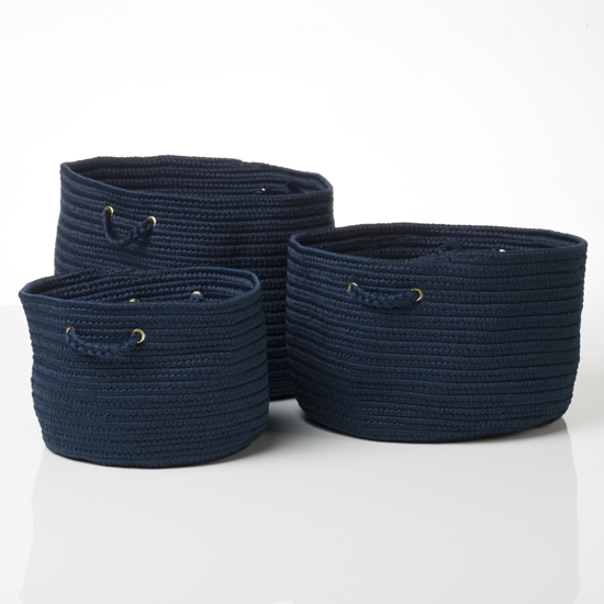 Merveilleux Navy Blue Storage Baskets Photos