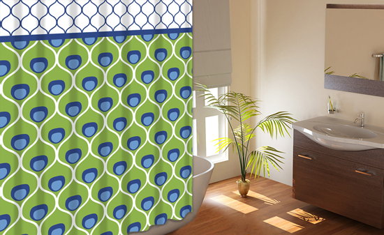 72 Quot X72 Quot Printed Shower Curtains With Metal Roller Hooks