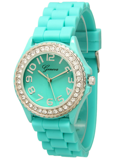 Geneva women s crystal embellished silicone watches for Watches geneva