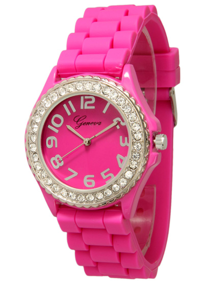 geneva s embellished silicone watches