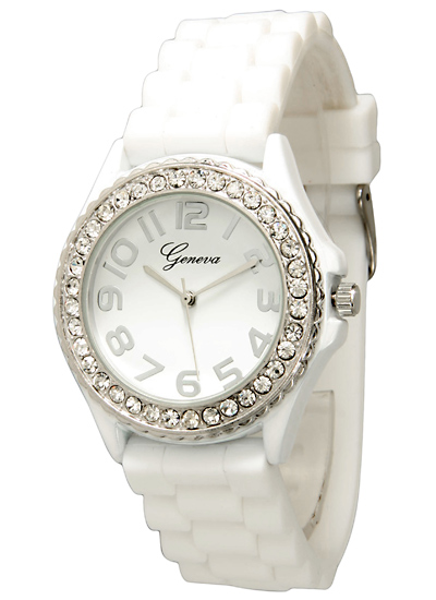 Geneva Women's Crystal-Embellished Silicone Watches