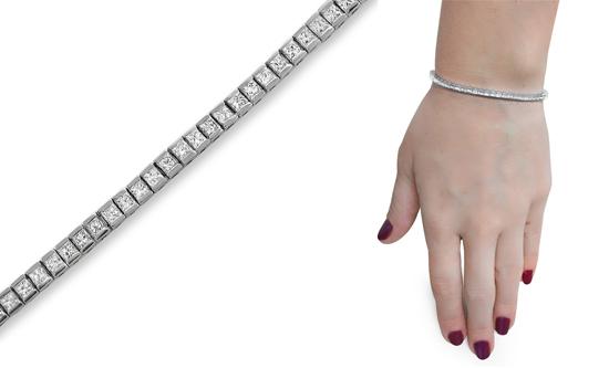 14 Karat White Gold Diamond Tennis Line Bracelets