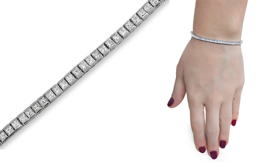 14 Karat White Gold Diamond Tennis Line Bracelets