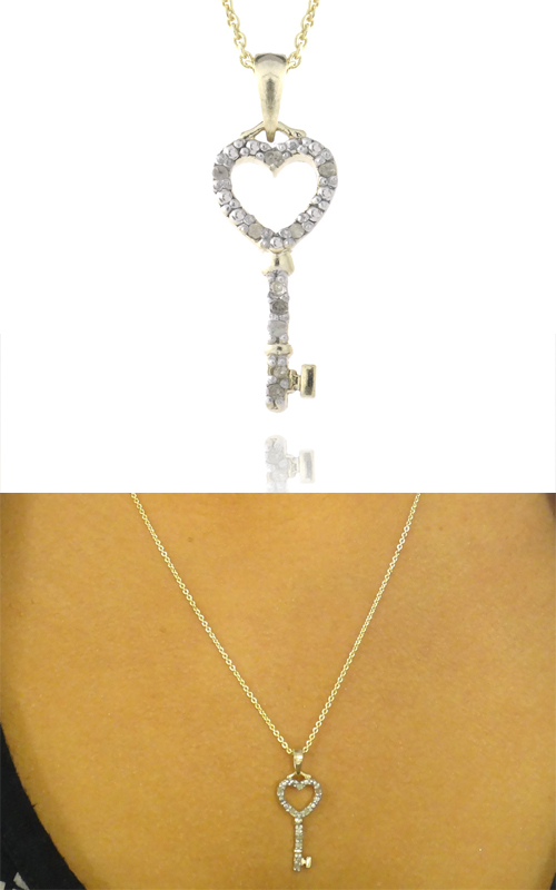 Diamond heart and cross pendant necklaces 15 for 18 karat gold over sterling silver 110 carat diamond heart and key necklace ypd4742 10 18 9999 list price mozeypictures Choice Image