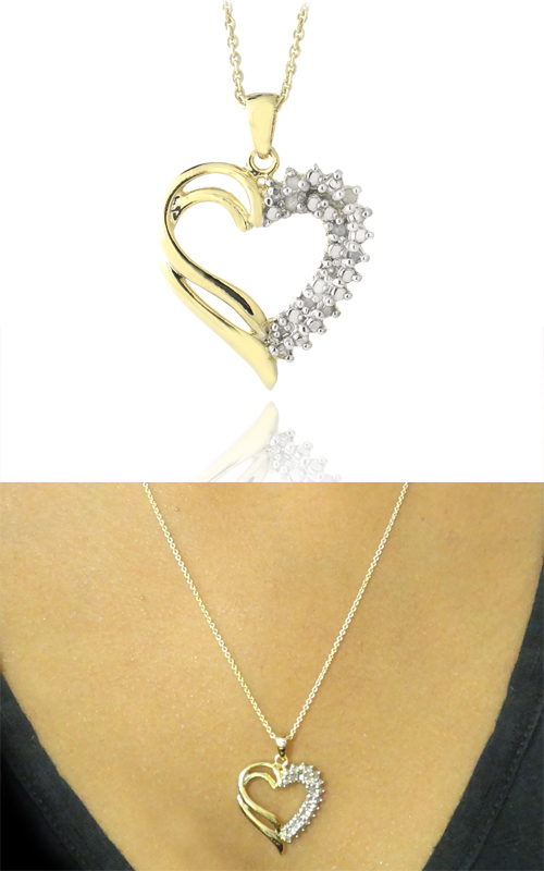Diamond heart and cross pendant necklaces 15 for 18 karat gold over sterling silver 110 carat diamond open heart necklace ypd2141 10 18 8999 list price aloadofball Choice Image
